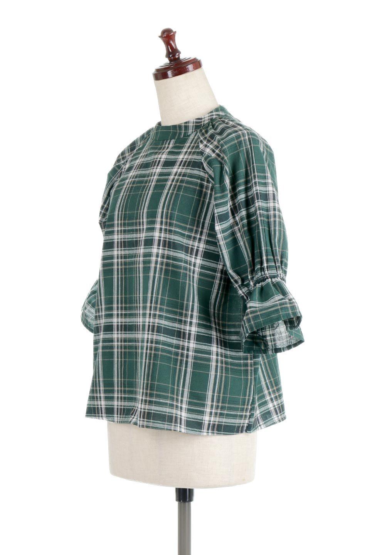 CandySleeveCheckBlouseキャンディースリーブ・チェック柄ブラウス大人カジュアルに最適な海外ファッションのothers(その他インポートアイテム)のトップスやシャツ・ブラウス。キャンディースリーブのボリュームが可愛いブラウス。チェック柄とシンプルな首周りでコーディネートの幅が広がります。/main-6