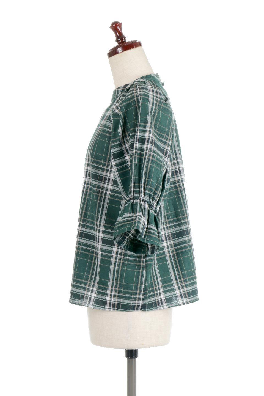 CandySleeveCheckBlouseキャンディースリーブ・チェック柄ブラウス大人カジュアルに最適な海外ファッションのothers(その他インポートアイテム)のトップスやシャツ・ブラウス。キャンディースリーブのボリュームが可愛いブラウス。チェック柄とシンプルな首周りでコーディネートの幅が広がります。/main-7