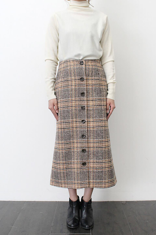 RetroCheckPatternedTweedSkirtレトロチェック・ツイードスカート大人カジュアルに最適な海外ファッションのothers(その他インポートアイテム)のボトムやスカート。温かみのあるツイード風のチェック生地が可愛いロングスカート。素材の雰囲気を生かしたレトロなチェック柄がおすすめポイントです。/main-16