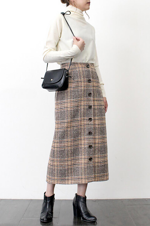 RetroCheckPatternedTweedSkirtレトロチェック・ツイードスカート大人カジュアルに最適な海外ファッションのothers(その他インポートアイテム)のボトムやスカート。温かみのあるツイード風のチェック生地が可愛いロングスカート。素材の雰囲気を生かしたレトロなチェック柄がおすすめポイントです。/main-17