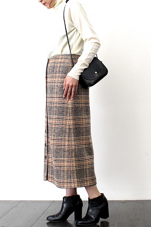 RetroCheckPatternedTweedSkirtレトロチェック・ツイードスカート大人カジュアルに最適な海外ファッションのothers(その他インポートアイテム)のボトムやスカート。温かみのあるツイード風のチェック生地が可愛いロングスカート。素材の雰囲気を生かしたレトロなチェック柄がおすすめポイントです。/main-18