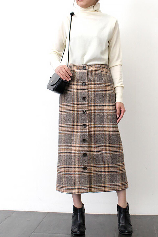 RetroCheckPatternedTweedSkirtレトロチェック・ツイードスカート大人カジュアルに最適な海外ファッションのothers(その他インポートアイテム)のボトムやスカート。温かみのあるツイード風のチェック生地が可愛いロングスカート。素材の雰囲気を生かしたレトロなチェック柄がおすすめポイントです。/main-19