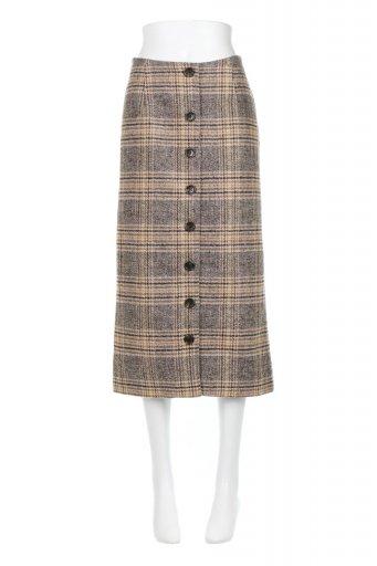 海外ファッションや大人カジュアルに最適なインポートセレクトアイテムのRetro Check Patterned Tweed Skirt レトロチェック・ツイードスカート