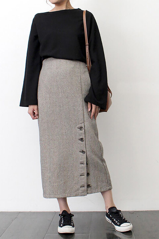 TweedHerringboneSemiTightSkirtツイードヘリンボーン・セミタイトスカート大人カジュアルに最適な海外ファッションのothers(その他インポートアイテム)のボトムやスカート。シックなヘリボーン生地のセミタイトスカート。ややゆとりのあるIラインが特徴の暖かスカートです。/main-30