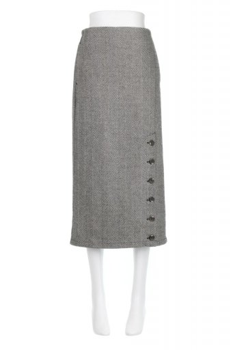 海外ファッションや大人カジュアルに最適なインポートセレクトアイテムのTweed Herringbone Semi Tight Skirt ツイードヘリンボーン・セミタイトスカート