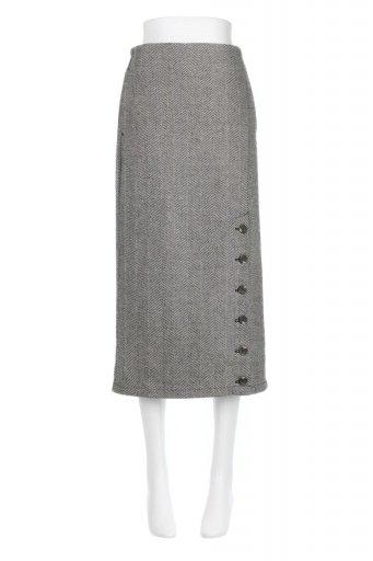 Tweed Herringbone Semi Tight Skirt ツイードヘリンボーン・セミタイトスカート / 大人カジュアルに最適な海外ファッションが得意な福島市のセレクトショップbloom