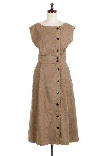 French Sleeve Corduroy Long Dress 細うねコーデュロイ・ロングワンピース / 大人カジュアルに最適な海外ファッションが得意な福島市のセレクトショップbloom
