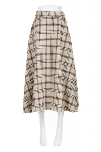 Check Patterned A-Line Long Skirt Aライン・チェックロングスカート / 大人カジュアルに最適な海外ファッションが得意な福島市のセレクトショップbloom