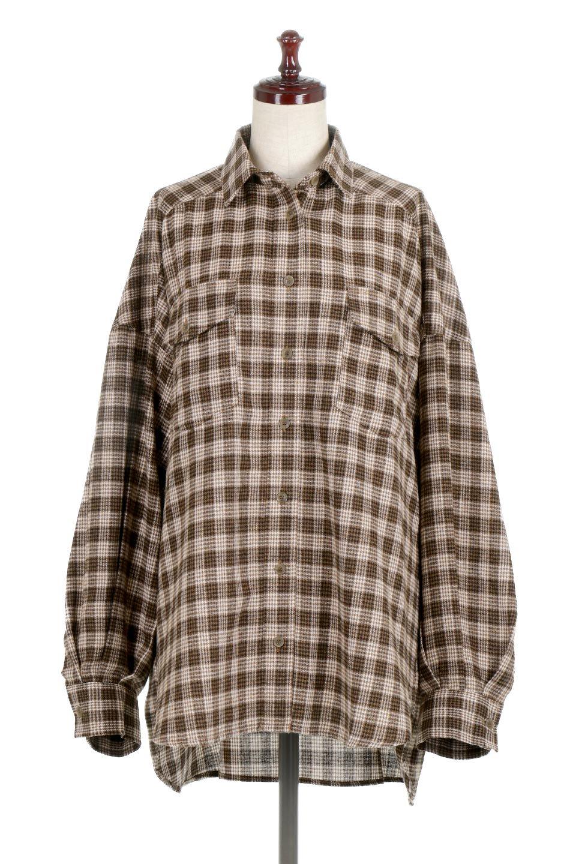 CheckPatternedFlannelBigShirtsチェック柄・ビッグネルシャツ大人カジュアルに最適な海外ファッションのothers(その他インポートアイテム)のトップスやシャツ・ブラウス。シャツジャケットとしても活躍するビッグサイズのネルシャツ。秋に嬉しい生地感とカラーリングで人気の商品です。
