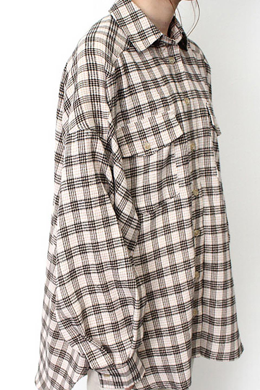 CheckPatternedFlannelBigShirtsチェック柄・ビッグネルシャツ大人カジュアルに最適な海外ファッションのothers(その他インポートアイテム)のトップスやシャツ・ブラウス。シャツジャケットとしても活躍するビッグサイズのネルシャツ。秋に嬉しい生地感とカラーリングで人気の商品です。/main-26