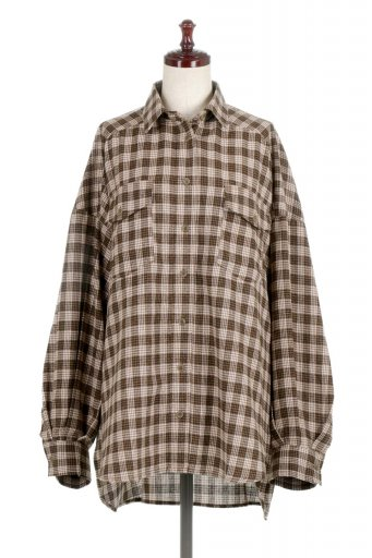 海外ファッションや大人カジュアルに最適なインポートセレクトアイテムのCheck Patterned Flannel Big Shirts チェック柄・ビッグネルシャツ