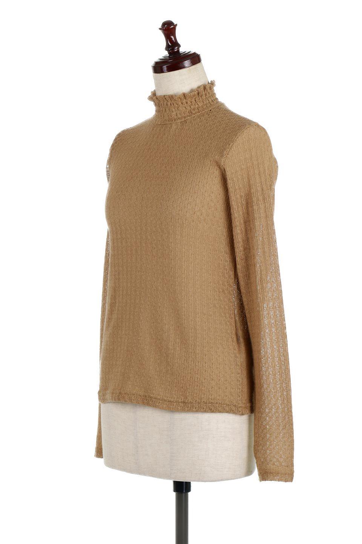 LaceHighNeckTop模様編み・ハイネックトップス大人カジュアルに最適な海外ファッションのothers(その他インポートアイテム)のトップスやカットソー。大人っぽい着こなしができる模様編みのハイネックトップス。ストレッチ性のある生地で動きやすさも抜群です。/main-1