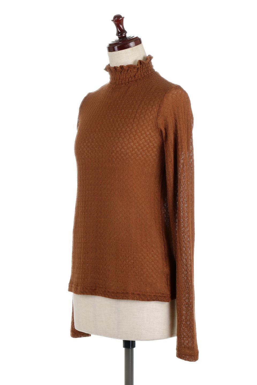LaceHighNeckTop模様編み・ハイネックトップス大人カジュアルに最適な海外ファッションのothers(その他インポートアイテム)のトップスやカットソー。大人っぽい着こなしができる模様編みのハイネックトップス。ストレッチ性のある生地で動きやすさも抜群です。/main-11