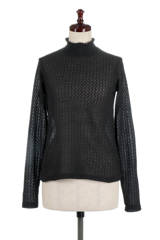 LaceHighNeckTop模様編み・ハイネックトップス大人カジュアルに最適な海外ファッションのothers(その他インポートアイテム)のトップスやカットソー。大人っぽい着こなしができる模様編みのハイネックトップス。ストレッチ性のある生地で動きやすさも抜群です。/main-15