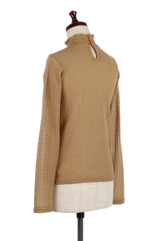 LaceHighNeckTop模様編み・ハイネックトップス大人カジュアルに最適な海外ファッションのothers(その他インポートアイテム)のトップスやカットソー。大人っぽい着こなしができる模様編みのハイネックトップス。ストレッチ性のある生地で動きやすさも抜群です。/main-3