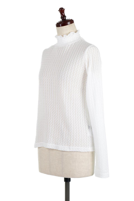 LaceHighNeckTop模様編み・ハイネックトップス大人カジュアルに最適な海外ファッションのothers(その他インポートアイテム)のトップスやカットソー。大人っぽい着こなしができる模様編みのハイネックトップス。ストレッチ性のある生地で動きやすさも抜群です。/main-6