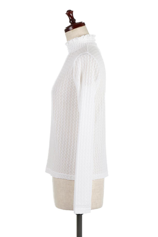 LaceHighNeckTop模様編み・ハイネックトップス大人カジュアルに最適な海外ファッションのothers(その他インポートアイテム)のトップスやカットソー。大人っぽい着こなしができる模様編みのハイネックトップス。ストレッチ性のある生地で動きやすさも抜群です。/main-7