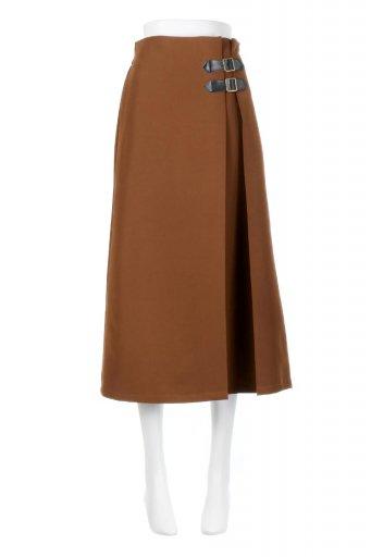 海外ファッションや大人カジュアルに最適なインポートセレクトアイテムのDouble Belted Deep Tuck Skirt ダブルベルト・タックスカート