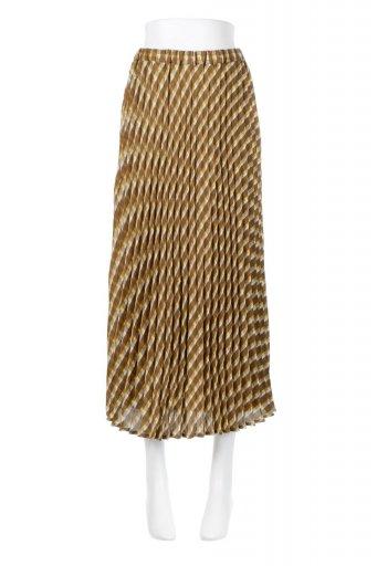 海外ファッションや大人カジュアルに最適なインポートセレクトアイテムのCheck Panel Pleated Skirt バイアス切換え・プリーツスカート