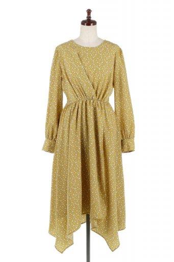 海外ファッションや大人カジュアルに最適なインポートセレクトアイテムのFloret Printed Wrap Dress 小花柄・巻きスカート風ワンピース