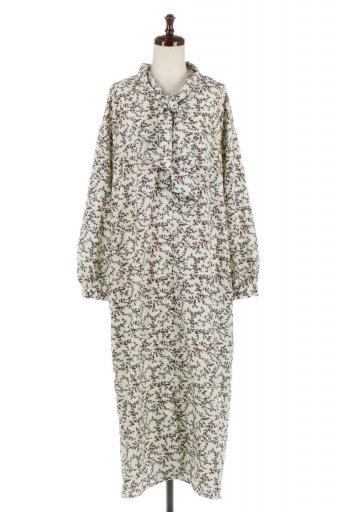 海外ファッションや大人カジュアルに最適なインポートセレクトアイテムのFloral Pattern Ribbon Dress ボウタイ付き・2Way花柄ワンピース