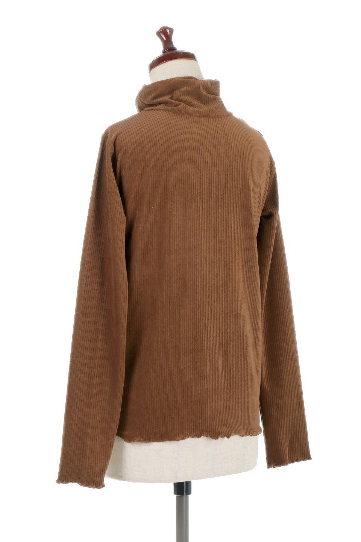 VelorRibTurtleNeckTopベロアリブ・タートルネックトップス大人カジュアルに最適な海外ファッションのothers(その他インポートアイテム)のトップスやカットソー。優しい光沢のベロアリブ素材を使用したトップス。オフタール風の緩いネックが可愛いアイテムです。/main-13