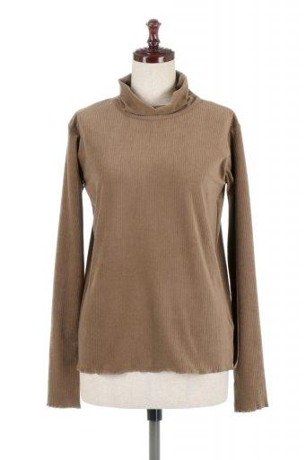 海外ファッションや大人カジュアルに最適なインポートセレクトアイテムのVelor Rib Turtle Neck Top ベロアリブ・タートルネックトップス