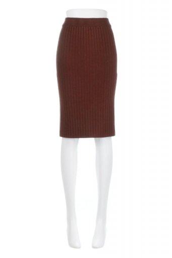 海外ファッションや大人カジュアルに最適なインポートセレクトアイテムのRib Knitted Pencil Skirt (Short) リブニット・ペンシルスカート