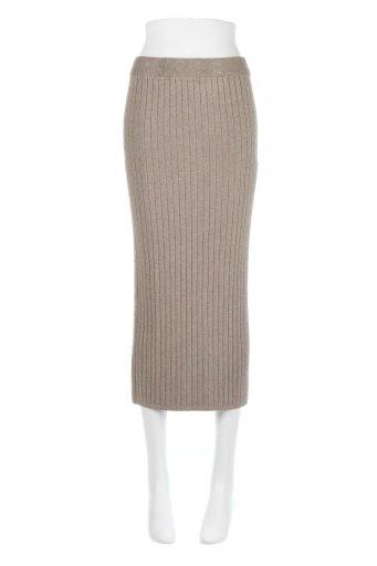 海外ファッションや大人カジュアルに最適なインポートセレクトアイテムのRib Knitted Pencil Skirt (Long) リブニット・ペンシルスカート