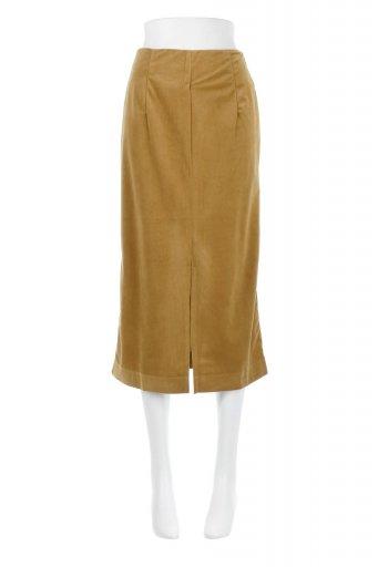 海外ファッションや大人カジュアルに最適なインポートセレクトアイテムのVelour Semi Tight Skirt ベロア生地・セミタイトスカート