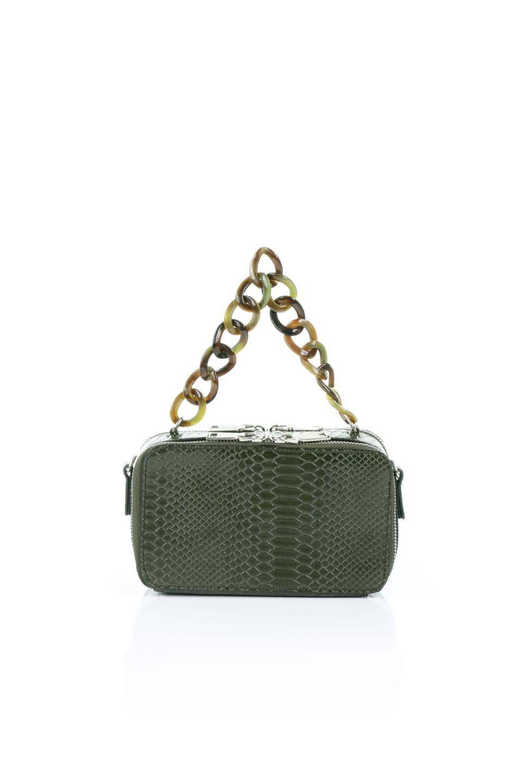 meliebiancoのDemi(Olive)スクエア・ミニショルダーバッグ/海外ファッション好きにオススメのインポートバッグとかばん、MelieBianco(メリービアンコ)のバッグやハンドバッグ。上品な光沢のクロコダイルの型押しが美しいスクエアタイプのミニハンドバッグ。艶めかしい型押しのマテリアルとべっ甲調のチェーンハンドルが◎ファスナーで前後に開くユニークなスタイルも目を引きます。