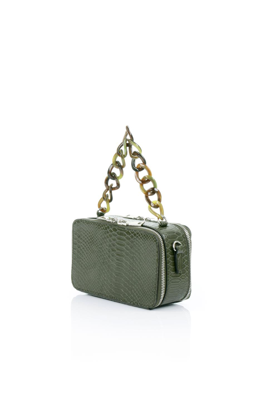 meliebiancoのDemi(Olive)スクエア・ミニショルダーバッグ/海外ファッション好きにオススメのインポートバッグとかばん、MelieBianco(メリービアンコ)のバッグやハンドバッグ。上品な光沢のクロコダイルの型押しが美しいスクエアタイプのミニハンドバッグ。艶めかしい型押しのマテリアルとべっ甲調のチェーンハンドルが◎ファスナーで前後に開くユニークなスタイルも目を引きます。/main-1