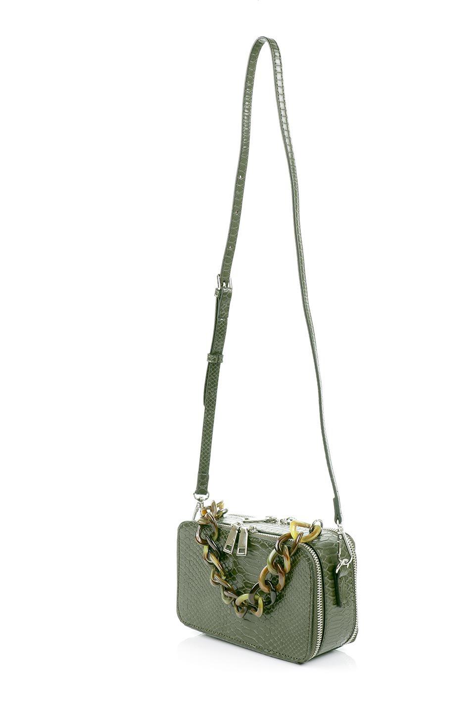 meliebiancoのDemi(Olive)スクエア・ミニショルダーバッグ/海外ファッション好きにオススメのインポートバッグとかばん、MelieBianco(メリービアンコ)のバッグやハンドバッグ。上品な光沢のクロコダイルの型押しが美しいスクエアタイプのミニハンドバッグ。艶めかしい型押しのマテリアルとべっ甲調のチェーンハンドルが◎ファスナーで前後に開くユニークなスタイルも目を引きます。/main-10