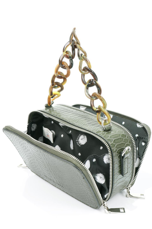 meliebiancoのDemi(Olive)スクエア・ミニショルダーバッグ/海外ファッション好きにオススメのインポートバッグとかばん、MelieBianco(メリービアンコ)のバッグやハンドバッグ。上品な光沢のクロコダイルの型押しが美しいスクエアタイプのミニハンドバッグ。艶めかしい型押しのマテリアルとべっ甲調のチェーンハンドルが◎ファスナーで前後に開くユニークなスタイルも目を引きます。/main-13