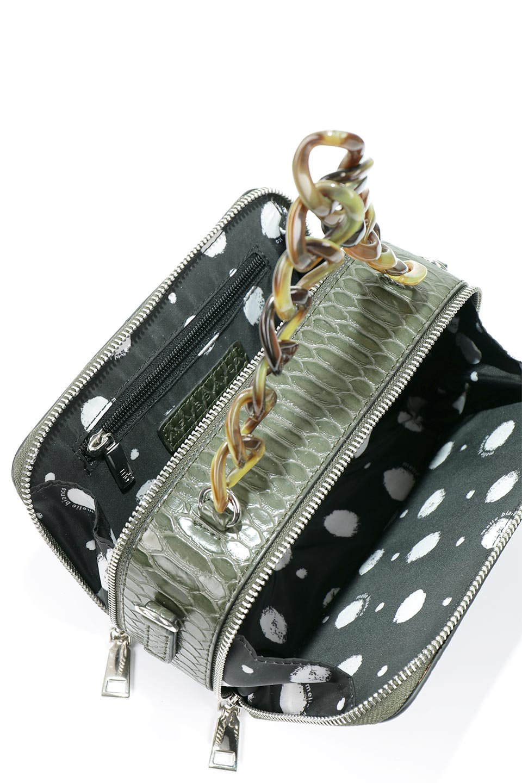 meliebiancoのDemi(Olive)スクエア・ミニショルダーバッグ/海外ファッション好きにオススメのインポートバッグとかばん、MelieBianco(メリービアンコ)のバッグやハンドバッグ。上品な光沢のクロコダイルの型押しが美しいスクエアタイプのミニハンドバッグ。艶めかしい型押しのマテリアルとべっ甲調のチェーンハンドルが◎ファスナーで前後に開くユニークなスタイルも目を引きます。/main-14