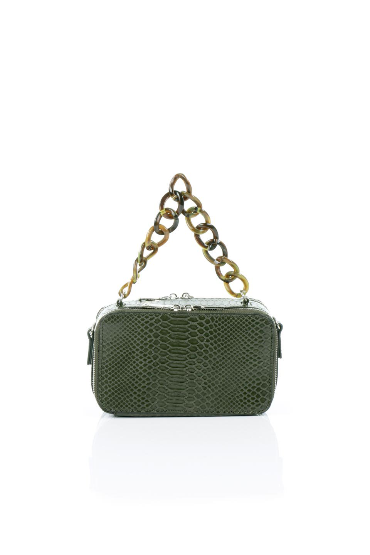 meliebiancoのDemi(Olive)スクエア・ミニショルダーバッグ/海外ファッション好きにオススメのインポートバッグとかばん、MelieBianco(メリービアンコ)のバッグやハンドバッグ。上品な光沢のクロコダイルの型押しが美しいスクエアタイプのミニハンドバッグ。艶めかしい型押しのマテリアルとべっ甲調のチェーンハンドルが◎ファスナーで前後に開くユニークなスタイルも目を引きます。/main-4