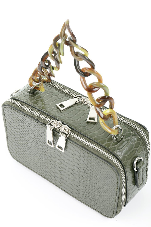 meliebiancoのDemi(Olive)スクエア・ミニショルダーバッグ/海外ファッション好きにオススメのインポートバッグとかばん、MelieBianco(メリービアンコ)のバッグやハンドバッグ。上品な光沢のクロコダイルの型押しが美しいスクエアタイプのミニハンドバッグ。艶めかしい型押しのマテリアルとべっ甲調のチェーンハンドルが◎ファスナーで前後に開くユニークなスタイルも目を引きます。/main-7