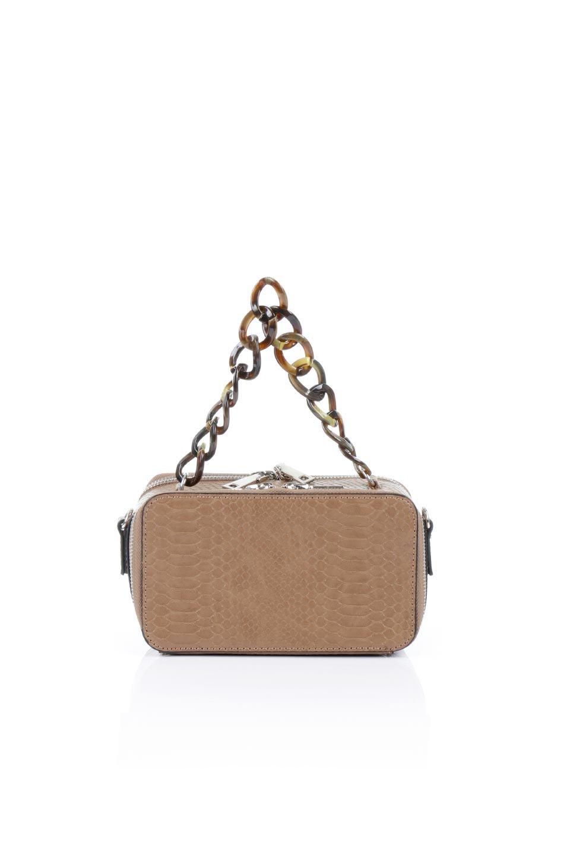 meliebiancoのDemi(Taupe)スクエア・ミニショルダーバッグ/海外ファッション好きにオススメのインポートバッグとかばん、MelieBianco(メリービアンコ)のバッグやハンドバッグ。上品な光沢のクロコダイルの型押しが美しいスクエアタイプのミニハンドバッグ。艶めかしい型押しのマテリアルとべっ甲調のチェーンハンドルが◎ファスナーで前後に開くユニークなスタイルも目を引きます。