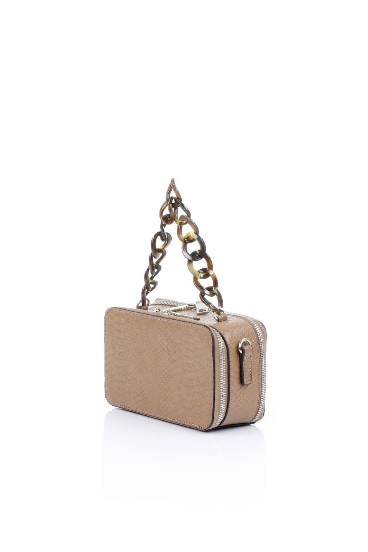 meliebiancoのDemi(Taupe)スクエア・ミニショルダーバッグ/海外ファッション好きにオススメのインポートバッグとかばん、MelieBianco(メリービアンコ)のバッグやハンドバッグ。上品な光沢のクロコダイルの型押しが美しいスクエアタイプのミニハンドバッグ。艶めかしい型押しのマテリアルとべっ甲調のチェーンハンドルが◎ファスナーで前後に開くユニークなスタイルも目を引きます。/main-1