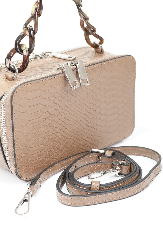 meliebiancoのDemi(Taupe)スクエア・ミニショルダーバッグ/海外ファッション好きにオススメのインポートバッグとかばん、MelieBianco(メリービアンコ)のバッグやハンドバッグ。上品な光沢のクロコダイルの型押しが美しいスクエアタイプのミニハンドバッグ。艶めかしい型押しのマテリアルとべっ甲調のチェーンハンドルが◎ファスナーで前後に開くユニークなスタイルも目を引きます。/main-10