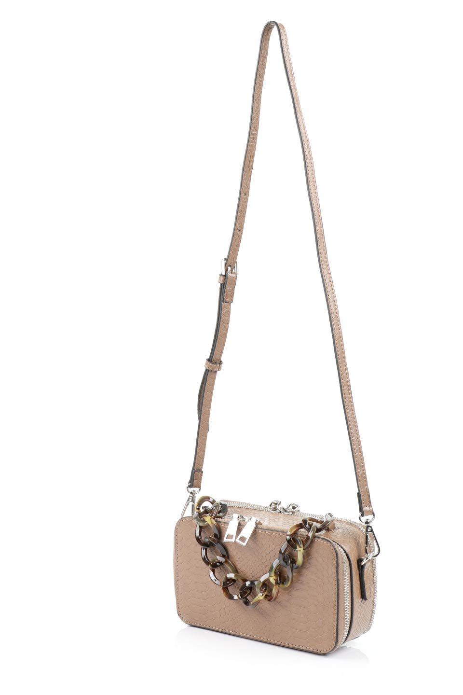 meliebiancoのDemi(Taupe)スクエア・ミニショルダーバッグ/海外ファッション好きにオススメのインポートバッグとかばん、MelieBianco(メリービアンコ)のバッグやハンドバッグ。上品な光沢のクロコダイルの型押しが美しいスクエアタイプのミニハンドバッグ。艶めかしい型押しのマテリアルとべっ甲調のチェーンハンドルが◎ファスナーで前後に開くユニークなスタイルも目を引きます。/main-11
