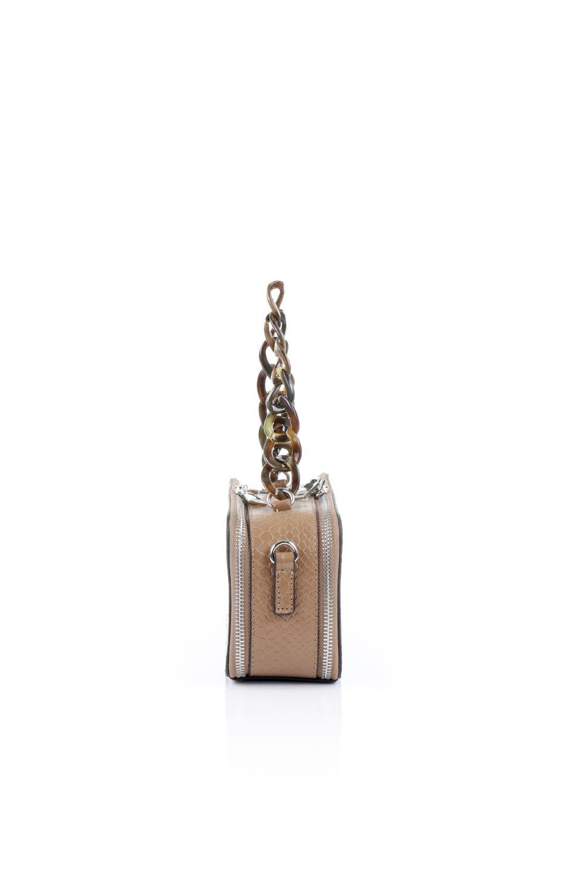meliebiancoのDemi(Taupe)スクエア・ミニショルダーバッグ/海外ファッション好きにオススメのインポートバッグとかばん、MelieBianco(メリービアンコ)のバッグやハンドバッグ。上品な光沢のクロコダイルの型押しが美しいスクエアタイプのミニハンドバッグ。艶めかしい型押しのマテリアルとべっ甲調のチェーンハンドルが◎ファスナーで前後に開くユニークなスタイルも目を引きます。/main-2