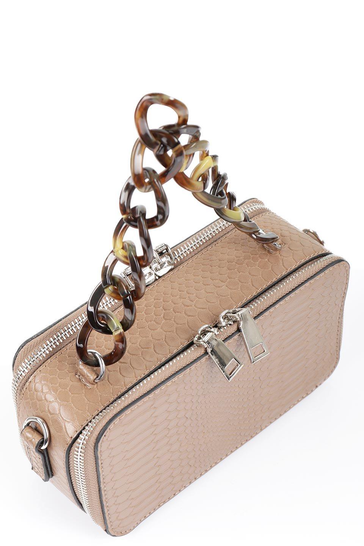meliebiancoのDemi(Taupe)スクエア・ミニショルダーバッグ/海外ファッション好きにオススメのインポートバッグとかばん、MelieBianco(メリービアンコ)のバッグやハンドバッグ。上品な光沢のクロコダイルの型押しが美しいスクエアタイプのミニハンドバッグ。艶めかしい型押しのマテリアルとべっ甲調のチェーンハンドルが◎ファスナーで前後に開くユニークなスタイルも目を引きます。/main-6