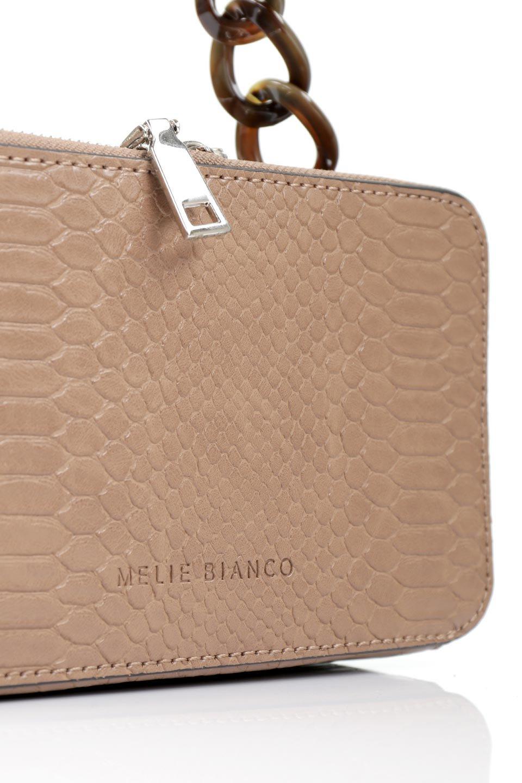 meliebiancoのDemi(Taupe)スクエア・ミニショルダーバッグ/海外ファッション好きにオススメのインポートバッグとかばん、MelieBianco(メリービアンコ)のバッグやハンドバッグ。上品な光沢のクロコダイルの型押しが美しいスクエアタイプのミニハンドバッグ。艶めかしい型押しのマテリアルとべっ甲調のチェーンハンドルが◎ファスナーで前後に開くユニークなスタイルも目を引きます。/main-9