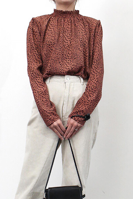 LeopardPrintedGatherNeckBlouseレオパード柄・ギャザーネックブラウス大人カジュアルに最適な海外ファッションのothers(その他インポートアイテム)のトップスやシャツ・ブラウス。様々なアウター類のインナーとして着まわせるレオパードのブラウス。もちろんブラウスだけでも可愛いデザインで、いつものコーデが華やかになります。/main-17