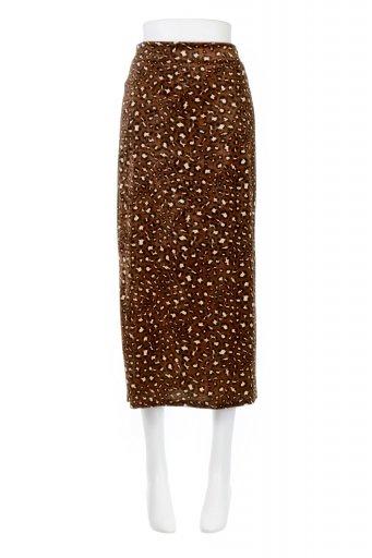 海外ファッションや大人カジュアルに最適なインポートセレクトアイテムのLeopard Velour Semi Tight Skirt レオパード柄・ベロアタイトスカート