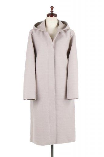海外ファッションや大人カジュアルに最適なインポートセレクトアイテムのMelton&Rib Knit Double Faced Hood Coat メルトン&リブニット・ダブルフェイスコート