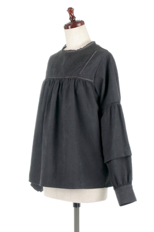 LadderLaceDetailBlouseはしごレースネック・長袖ブラウス大人カジュアルに最適な海外ファッションのothers(その他インポートアイテム)のトップスやシャツ・ブラウス。はしご状のレースでアクセントにしたパフスリーブの長袖ブラウス。たっぷり目の身幅でボディラインを隠してくれ、裾をインしてすっきりと着こなすことも可能です。/main-15