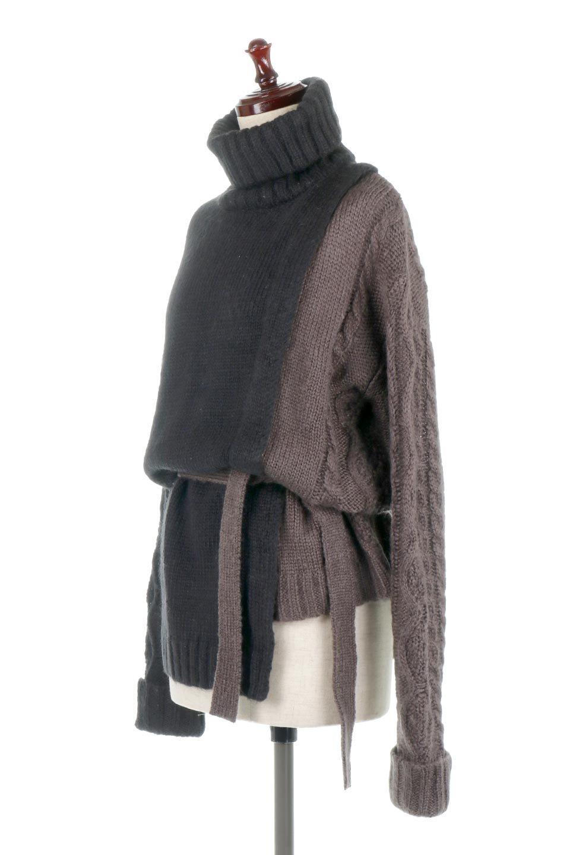 AsymmetricalBi-ColorKnitTopアシンメトリー・バイカラーニット大人カジュアルに最適な海外ファッションのothers(その他インポートアイテム)のトップスやニット・セーター。バイカラー&アシメデザインが可愛いざっくりニットのトップス。ユルめのタートルネックと袖の折り返しも◎ニットのベルトでブラウジングしても、そのままたっぷり目に着ても可愛いニットです。/main-16