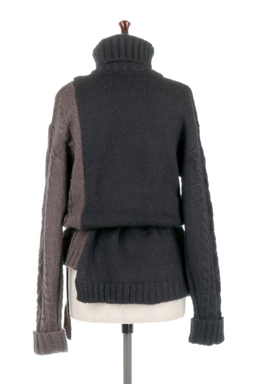 AsymmetricalBi-ColorKnitTopアシンメトリー・バイカラーニット大人カジュアルに最適な海外ファッションのothers(その他インポートアイテム)のトップスやニット・セーター。バイカラー&アシメデザインが可愛いざっくりニットのトップス。ユルめのタートルネックと袖の折り返しも◎ニットのベルトでブラウジングしても、そのままたっぷり目に着ても可愛いニットです。/main-19